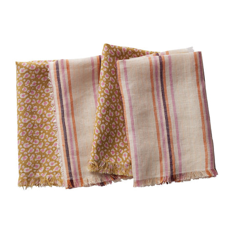Pasa Napkin Set in honey with leopard print and stripe designs