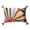 Patty Floral Cushion with multi-coloured, embroidered floral design and tassels