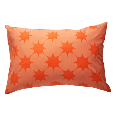 Poppy Cotton Pillowcase in tangerine star design
