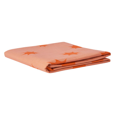 Poppy Flat Sheet in tangerine and rose, star design