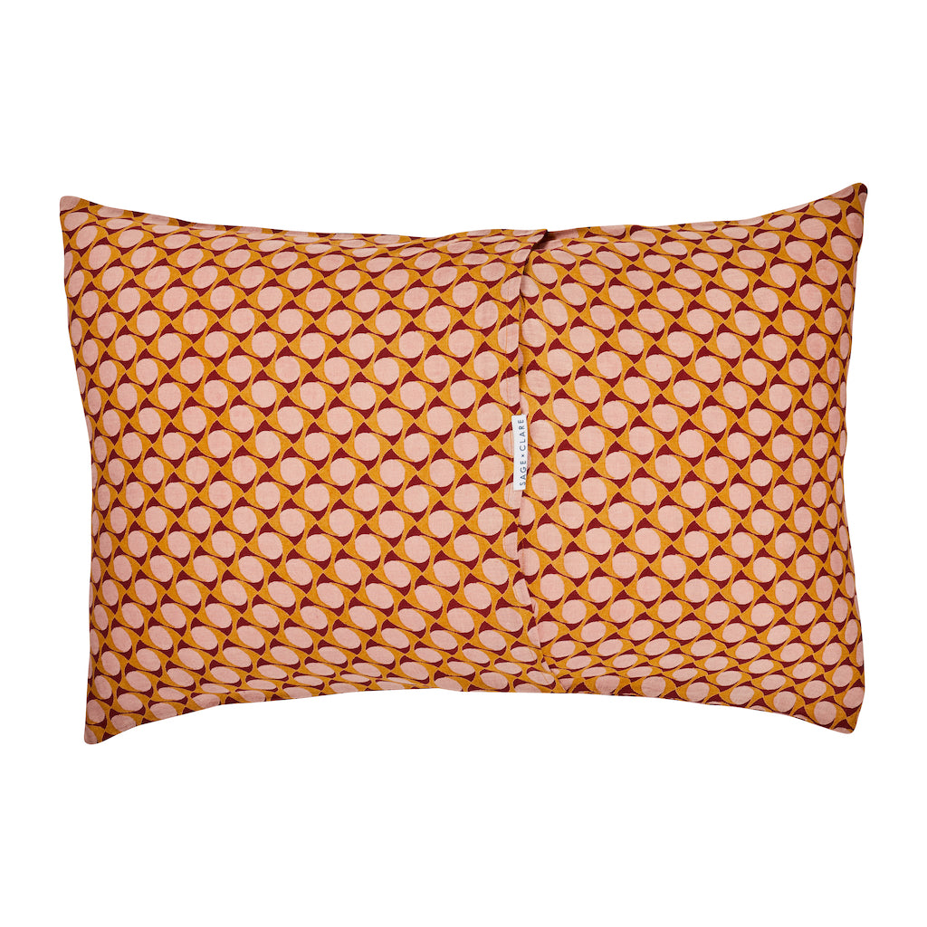 70s tile geometric pattern hand printed linen pillowcase