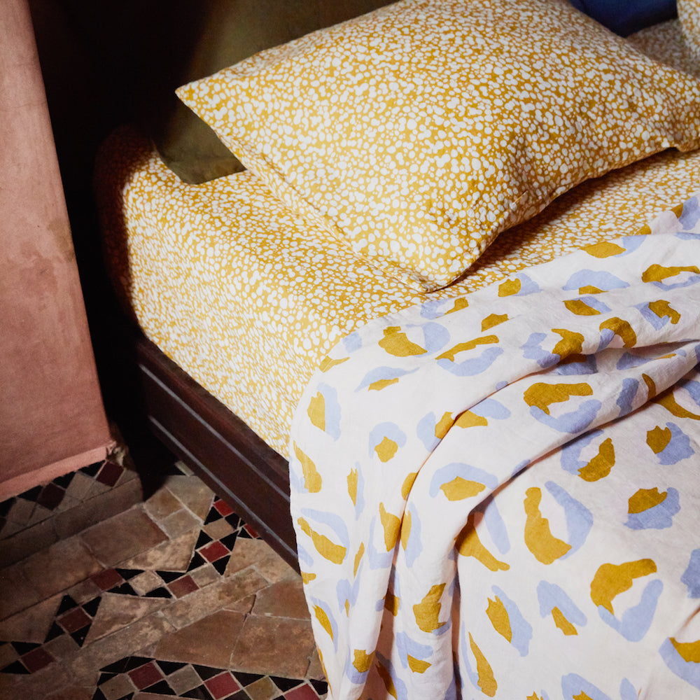 Paloma mustard linen speckle hand printed fitted sheet
