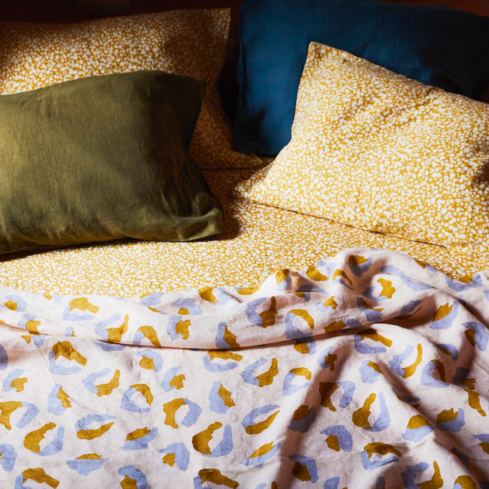 Paloma mustard linen speckle hand printed standard pillowcases