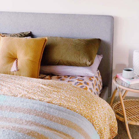 Paloma mustard speckle hand printed quilt cover