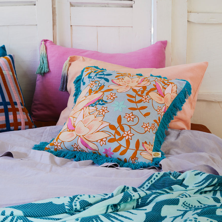 Pantai Tassel Pillowcase - Flamingo