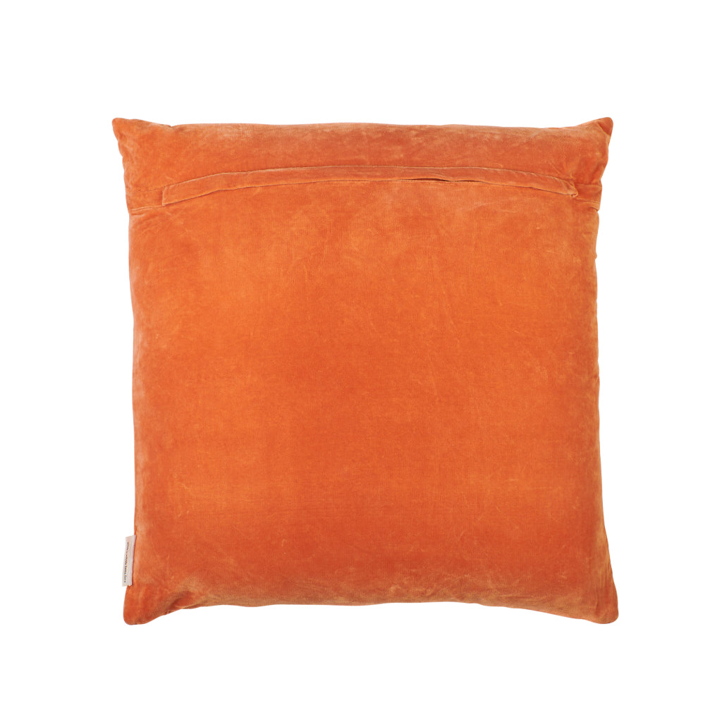 Clay terracotta velvet sham euro with embroidered stitching cross