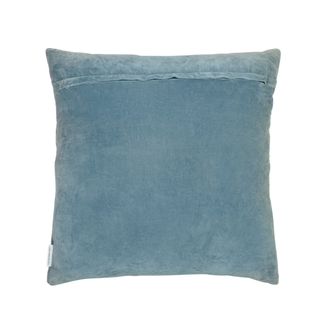 Pascal embroidered geometric denim blue velvet sham cushion