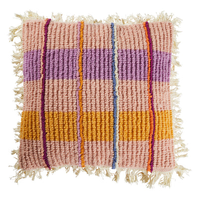 pernelle woven looped check cushion with fringe