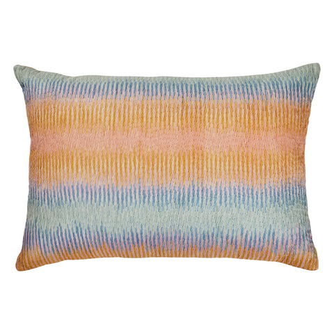 Prairie Tapestry Cushion. Hand Embroidered with burnt hues of the desert sunset and shades it creates. Finished with a dandelion textured reverse.