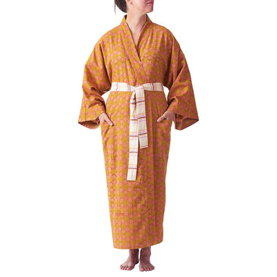 Rafael Star Robe in rose and honey geometric design with a striped tie
