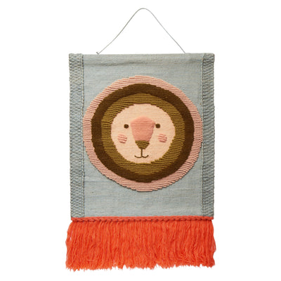 Rari Wall Hanging in a multi-coloured lion face design and a knotted fringe edge
