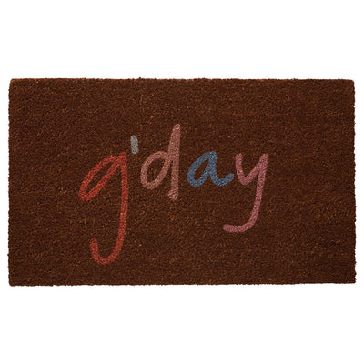 "Reggie Jute Door Mat in cocoa with a multi-colour ""g'day"" greeting"