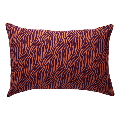 Roca Linen Pillowcase in a boysenberry and rose tiger stripe design