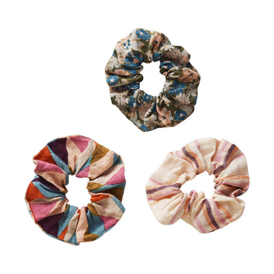 Rocco Hair Scrunchie Set in harlequin print, classic stripes and floral