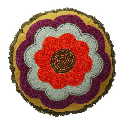 Rosie Embellished Circular Cushion with floral motif in multi-colour