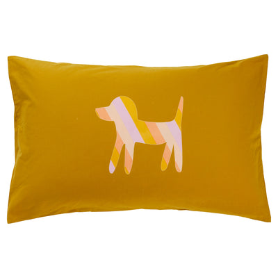 razo striped dog motif cotton pillowcase