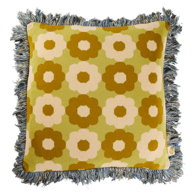 romane cotton jacquard knit cushion with fringe
