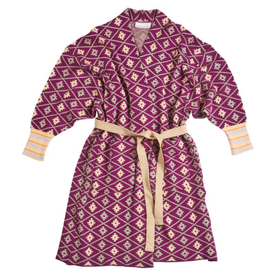 romy cotton jacquard geometric robe jacket
