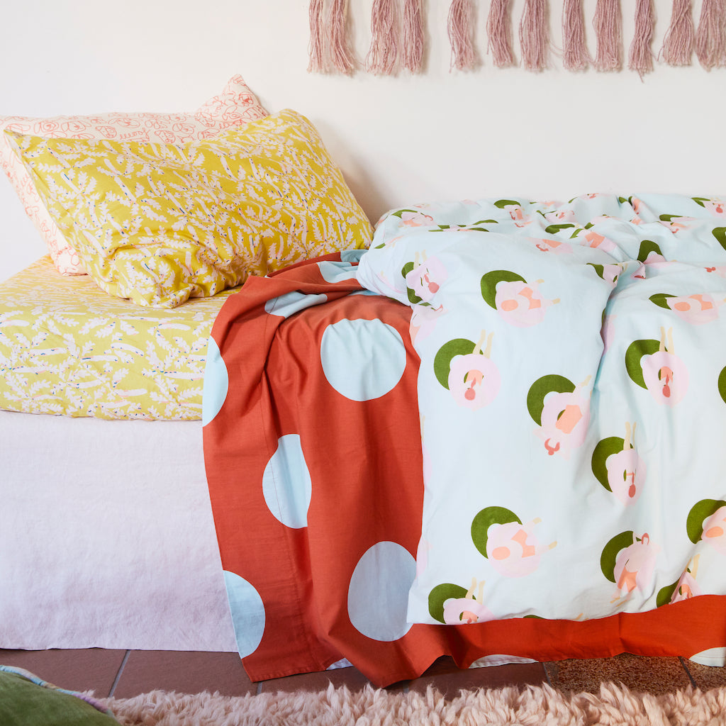 Rosquilla cotton percale hand printed pool donut pattern kids quilt cover