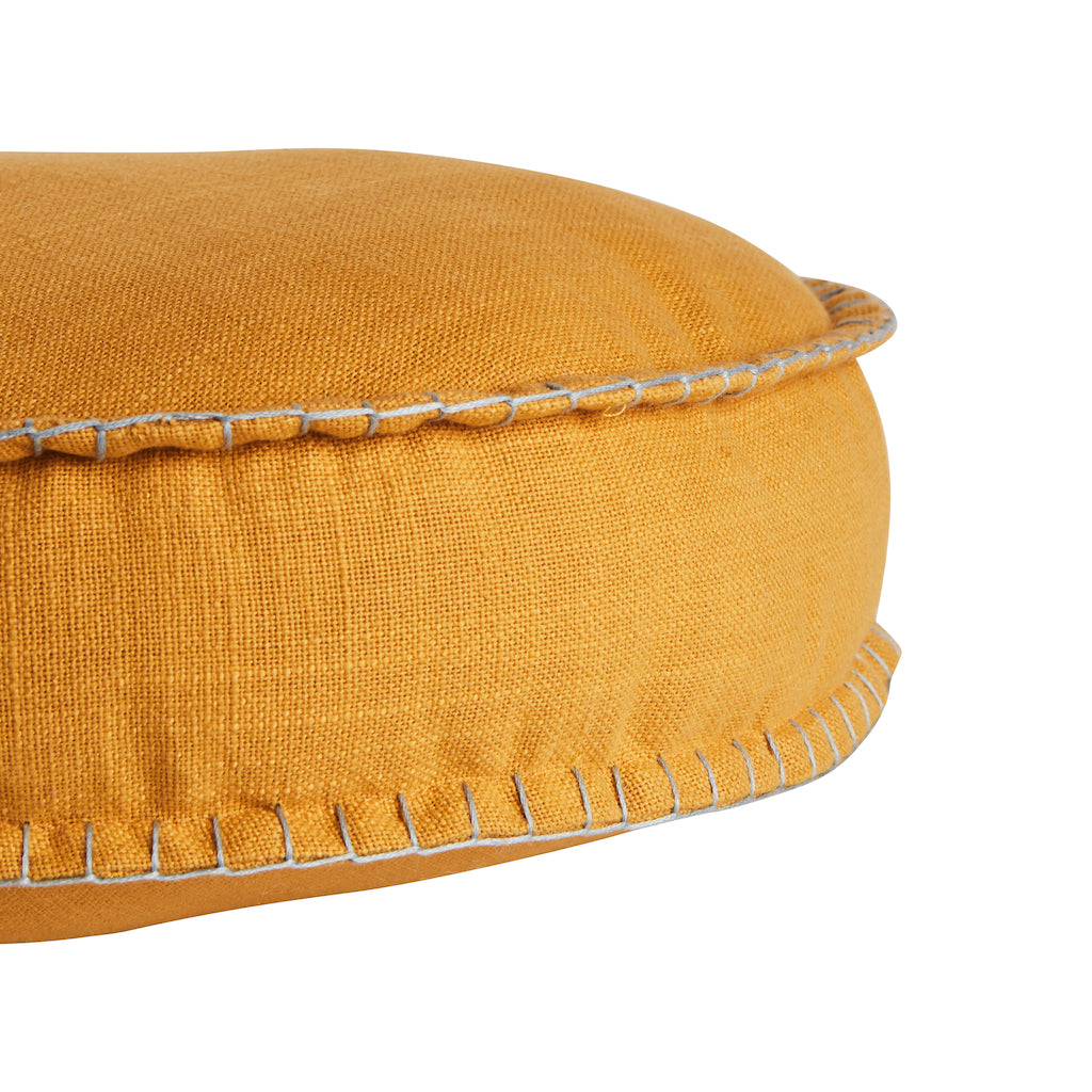 Rylie Round Cushion. Textured cotton round cushion in a Dandelion colour way.