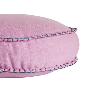 Rylie Round Cushion. Textured cotton round cushion in a taffy colour way.