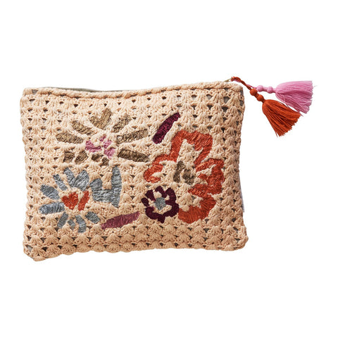 Sadie Knitted Clutch with ribbon floral motifs and tassel embellishments