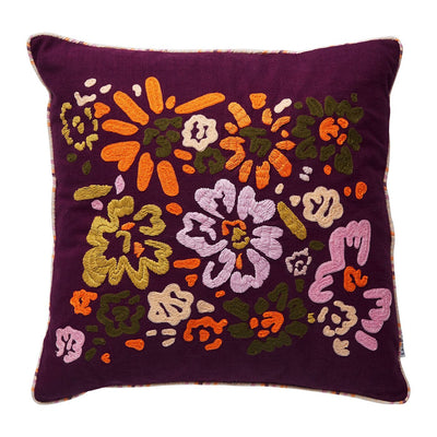 Sally Embroidered Cushion in boysenberry with a multi-coloured floral pattern