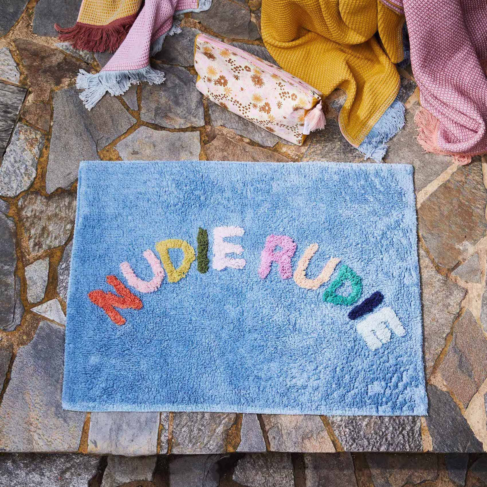 Jumbled + Sage x Clare multicoloured blue bath mat Nudie Rudie