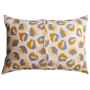 Sage and Clare Frankie Printed Linen Standard Pillowcase Leopard Camo Mustard, Blush, Blue