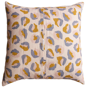 Sage and Clare Frankie Printed Linen Euro Pillowcase Leopard Camo Mustard, Blush, Blue