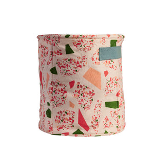 Cotton canvas storage basket small with terrazzo shapes in coral pink, moss green and terracotta clay with handles