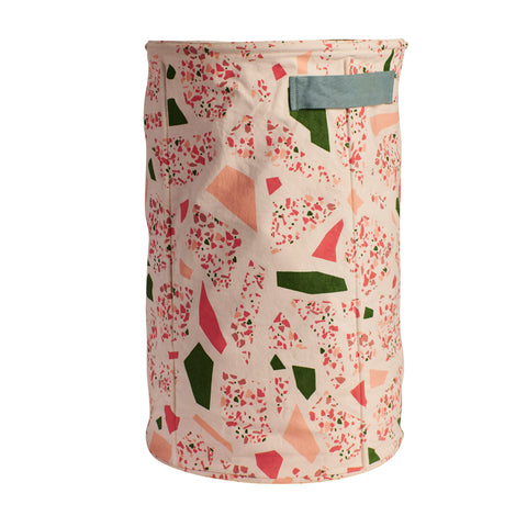 Cotton canvas storage basket large with terrazzo shapes in coral pink, moss green and terracotta clay with handles