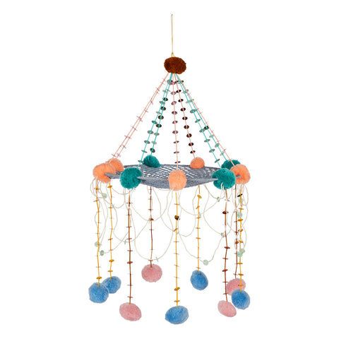 Senita Pajaki Hanging Mobile. A combination of crochet, pom pom and beading. Comes in Shades of the terra collection.