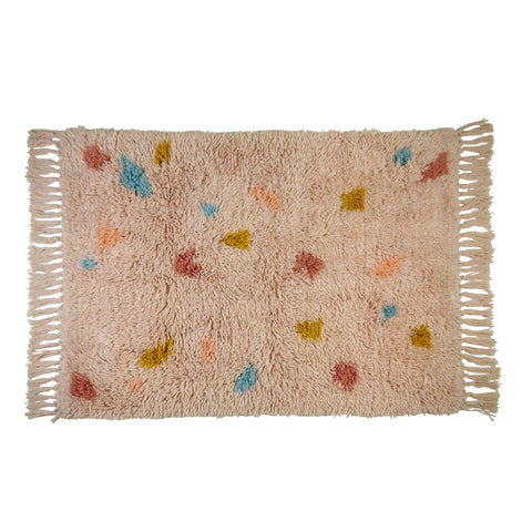 Sete beni abstract shape terrazzo flokati shag wool rug cream blush