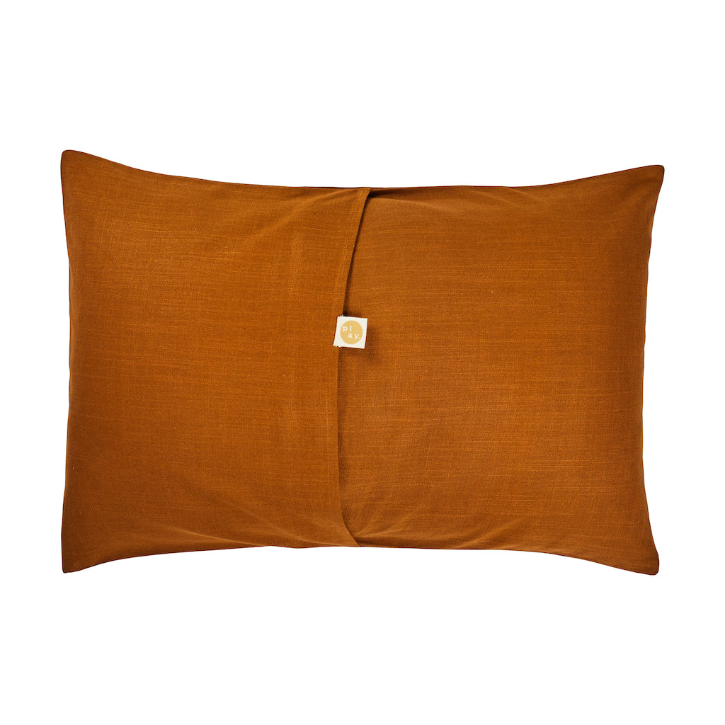 Sevier Pillowcase with hand printed dashed cactus in terracotta on a textured tan base with envelope seam reverse.