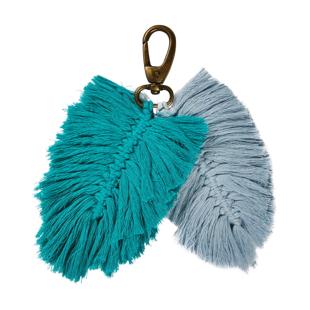 Sierra Macrame Key Ring in Haze and Opal. Hand crafted with Macrame leaf tassels.