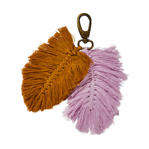Sierra Macrame Key Ring in Taffy and Tan. Hand crafted with Macrame leaf tassels.
