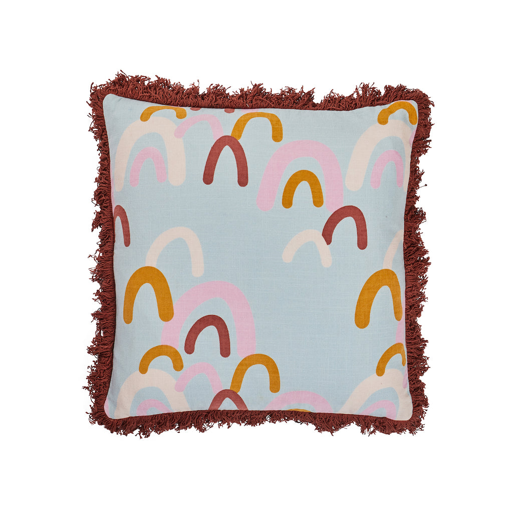Siretta Fringed cushion. Cluster of taffy, dandelion and russet rainbows hand printed onto this fringed bordered cushion.