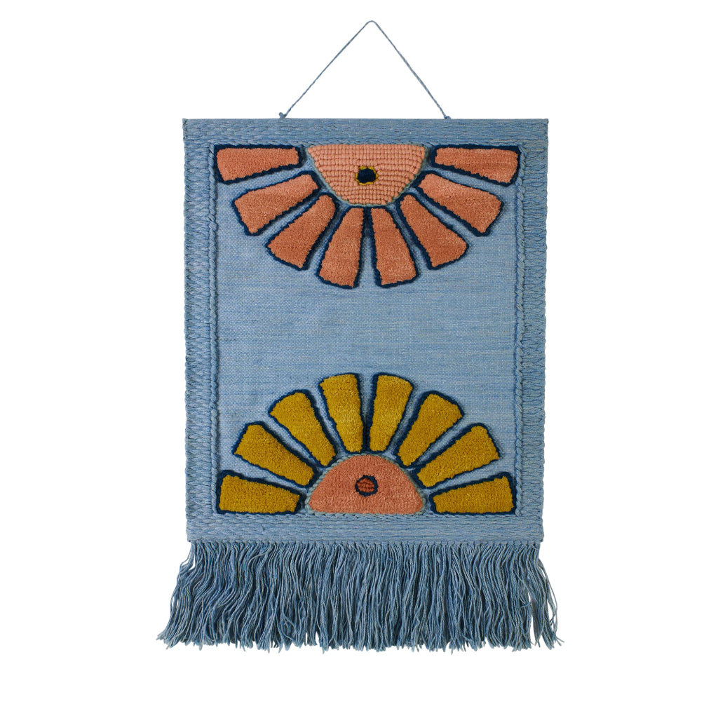 Soleil woven wool sunburst evil eye tufted wall hanging denim blue