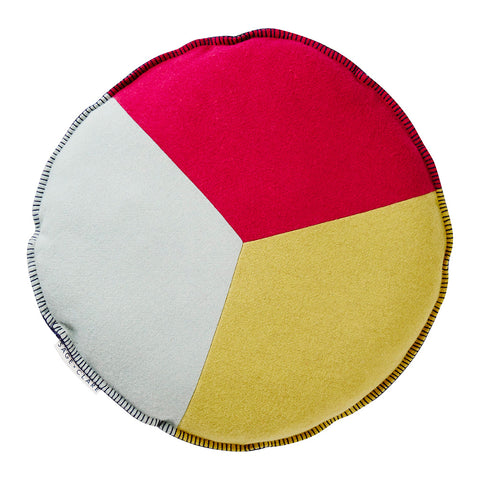 Summery hues of magenta, chartreuse and jade comprise this peace sign inspired round cushion design. Complete with contrast midnight blanket stitch edging and matching felt reverse.