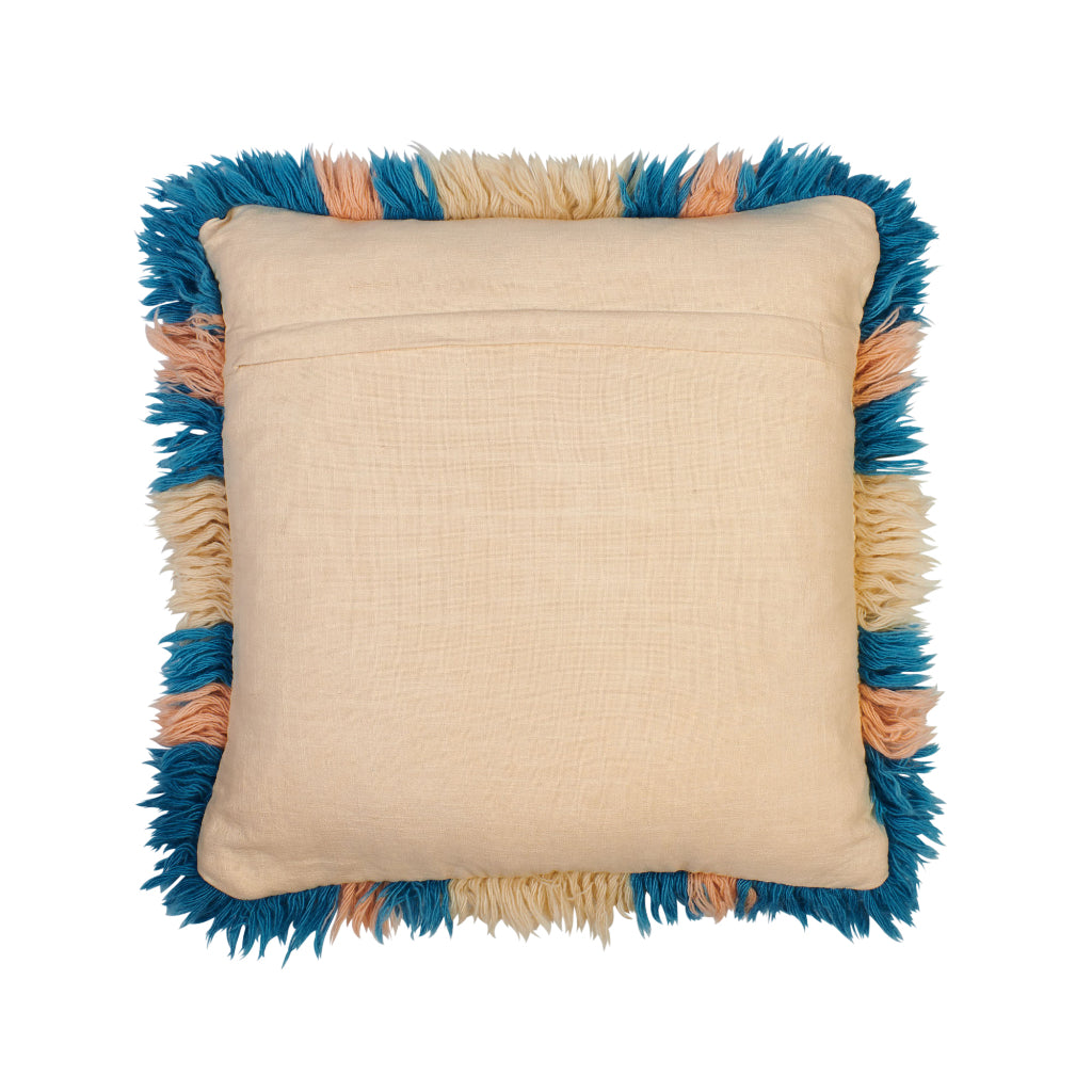 Suzette diamond pattern wool shag flokati cushion azure