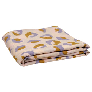 Sage and Clare Frankie Linen Fitted Sheet Hand Printed Mustard, Blush, Blue