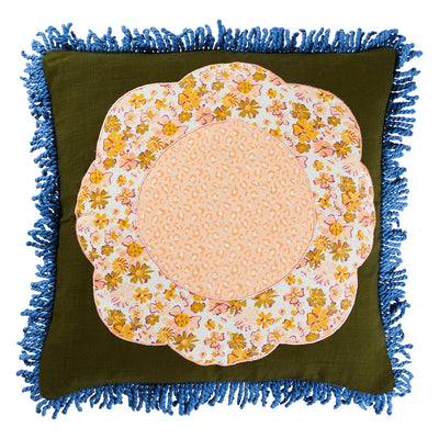 Sylvie Cotton Patch Cushion Fringing Flower Patch