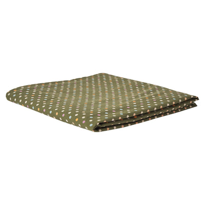Teeny Fitted Sheet in khaki, with a multi-coloured polka dot design