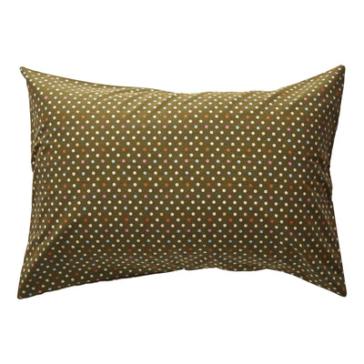 Teeny Cotton Pillowcase in khaki with a multi-coloured polka dot design