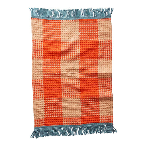 Twiggy Hand Towel in a tangerine waffle texture