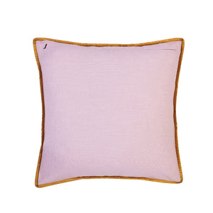 swirling quilted design on lilac cotton with metallic gold flange