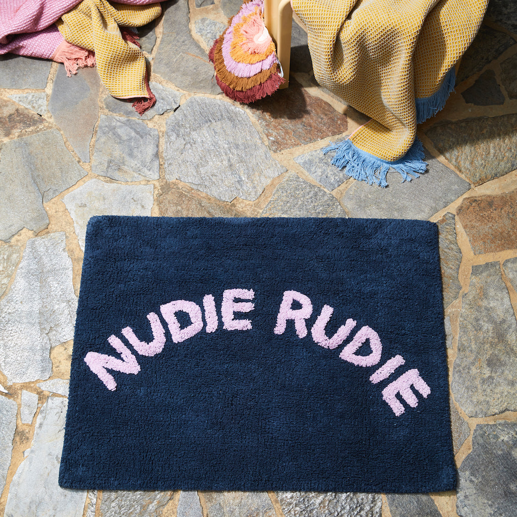 navy lilac nudie rudie cotton tufted bath mat