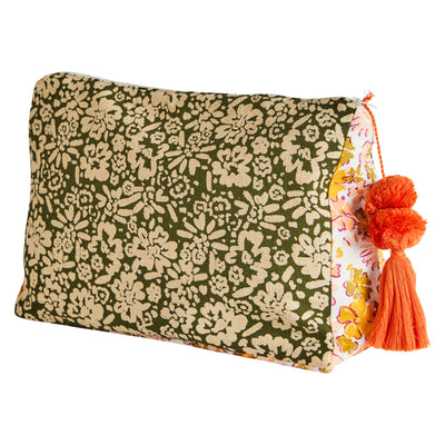 Valery Floral Cosmetic Toiletry Bag with Tassel - Sage x Clare