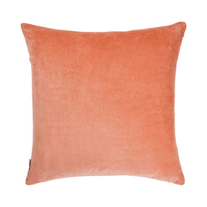 Yuma Velvet Sham in Terracotta. Generous sized terracotta coloured cushion with velvet base. Features tan rainbow stitching and great alternative to Euro Pillow.